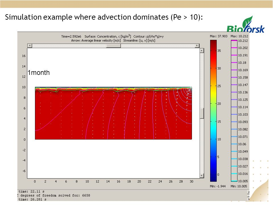 Simulation example where advection dominates (Pe > 10): 1month