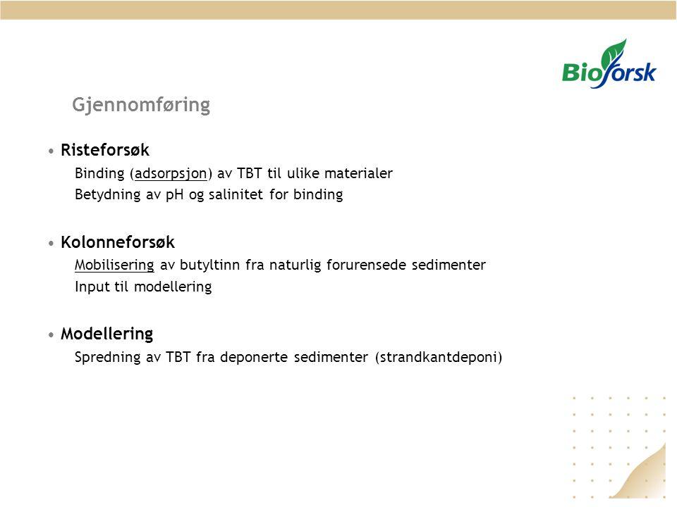 Gjennomføring Risteforsøk Binding (adsorpsjon) av TBT til ulike materialer Betydning av pH og salinitet for binding Kolonneforsøk Mobilisering av buty