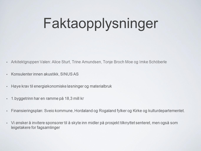 Faktaopplysninger Arkitektgruppen Valen: Alice Sturt, Trine Amundsen, Tonje Broch Moe og Imke Schöberle Konsulenter innen akustikk, SINUS AS Høye krav
