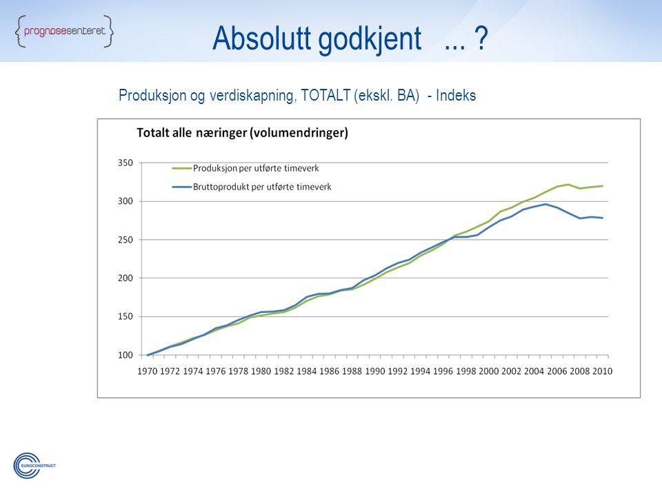 Absolutt godkjent... ? Produksjon og verdiskapning, TOTALT (ekskl. BA) - Indeks
