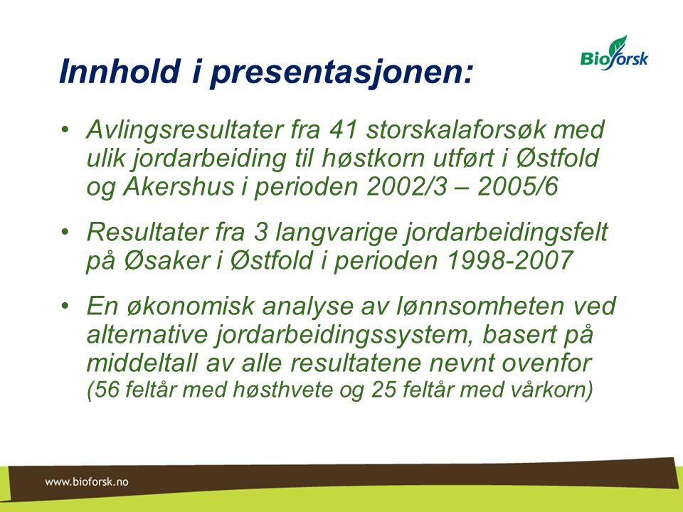 Innhold i presentasjonen: Avlingsresultater fra 41 storskalaforsøk med ulik jordarbeiding til høstkorn utført i Østfold og Akershus i perioden 2002/3