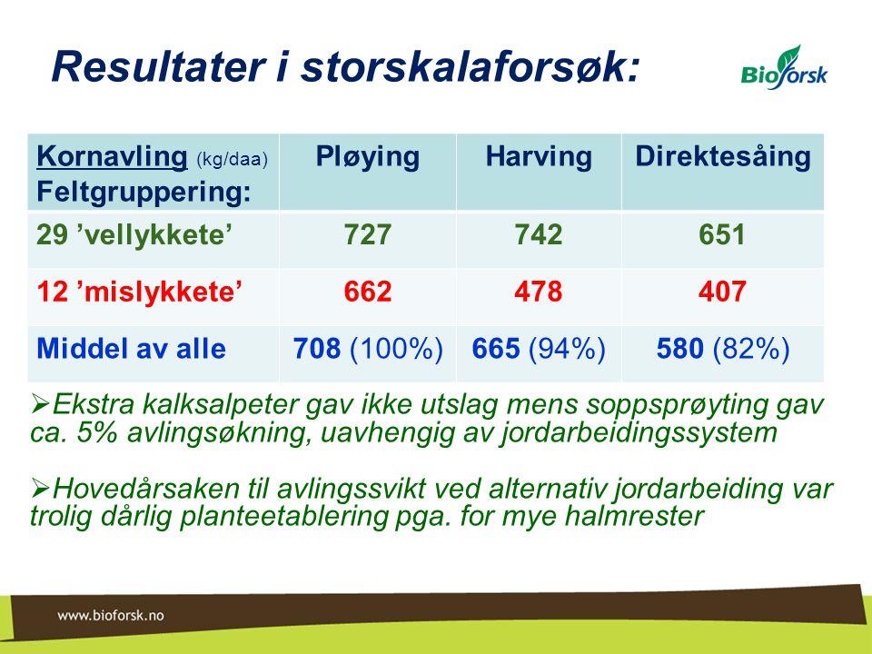 Resultater i storskalaforsøk: Kornavling (kg/daa) Feltgruppering: PløyingHarvingDirektesåing 29 'vellykkete'727742651 12 'mislykkete'662478407 Middel