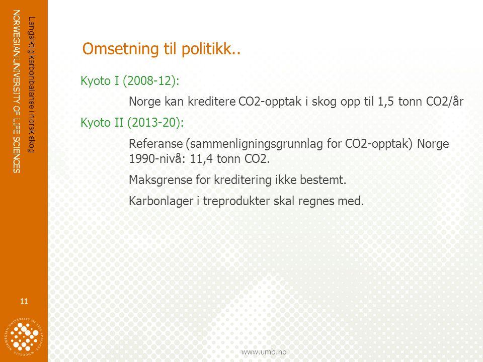 NORWEGIAN UNIVERSITY OF LIFE SCIENCES www.umb.no Omsetning til politikk.. Kyoto I (2008-12): Norge kan kreditere CO2-opptak i skog opp til 1,5 tonn CO