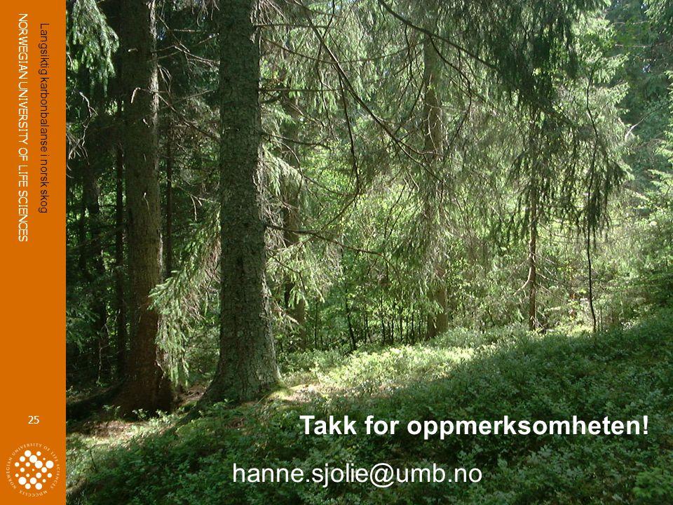 NORWEGIAN UNIVERSITY OF LIFE SCIENCES www.umb.no 25 Takk for oppmerksomheten! hanne.sjolie@umb.no Langsiktig karbonbalanse i norsk skog