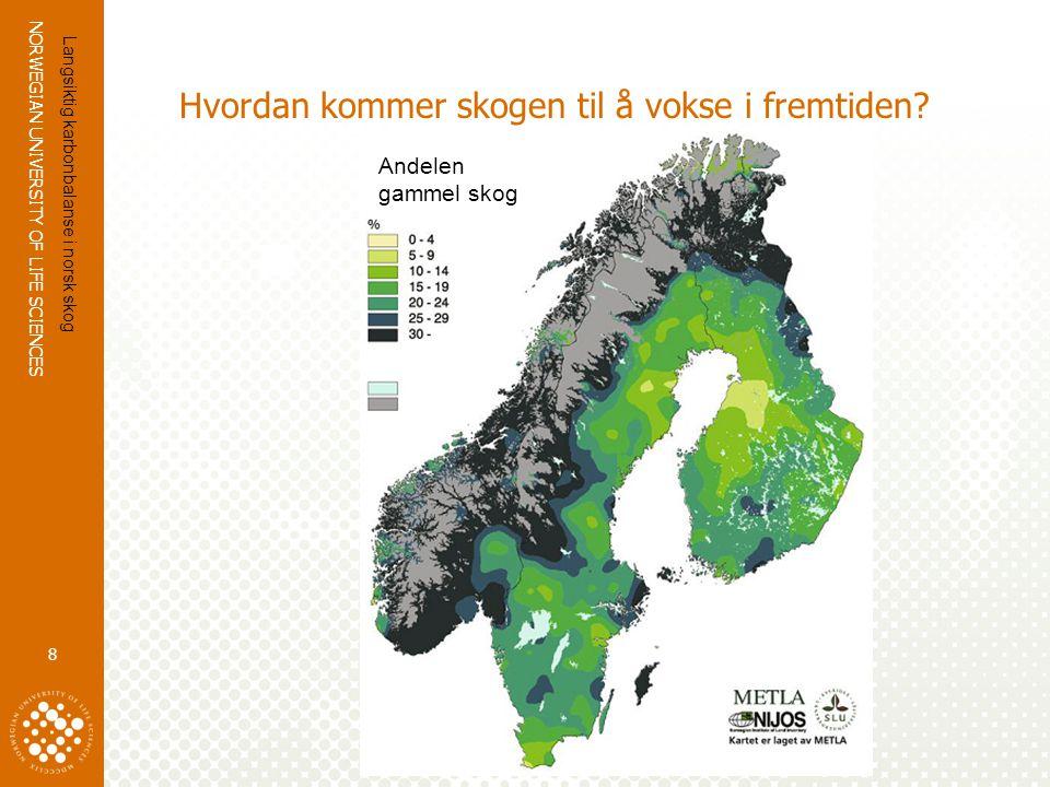 NORWEGIAN UNIVERSITY OF LIFE SCIENCES www.umb.no Hvordan kommer skogen til å vokse i fremtiden? 8 Langsiktig karbonbalanse i norsk skog Andelen gammel