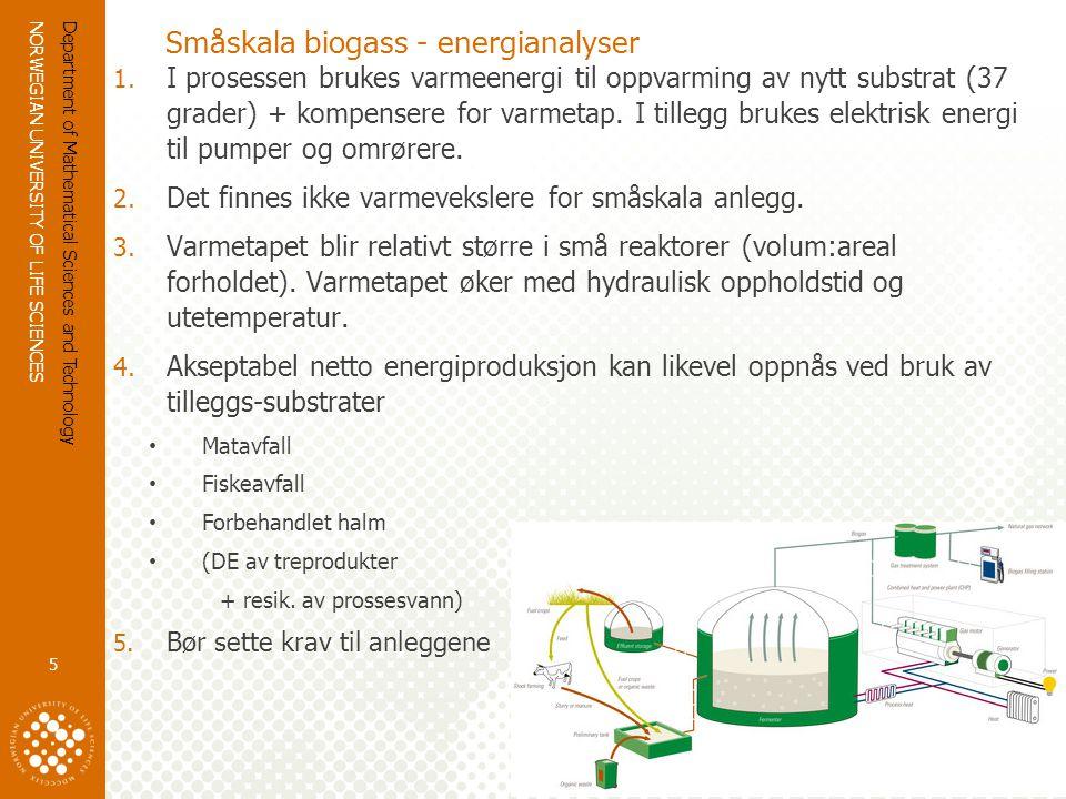 NORWEGIAN UNIVERSITY OF LIFE SCIENCES www.umb.no Klimaeffekt av biogass fra husdyrgjødsel og annet avfall  Reduksjon av metanutslipp og lystgass fra lagring av gjødsel –Forutsetter tett dekke på sluttlager  Erstatning mineralgjødsel  Størst klimaeffekt dersom biogass erstatter fossilt drivstoff Department of Mathematical Sciences and Technology 6