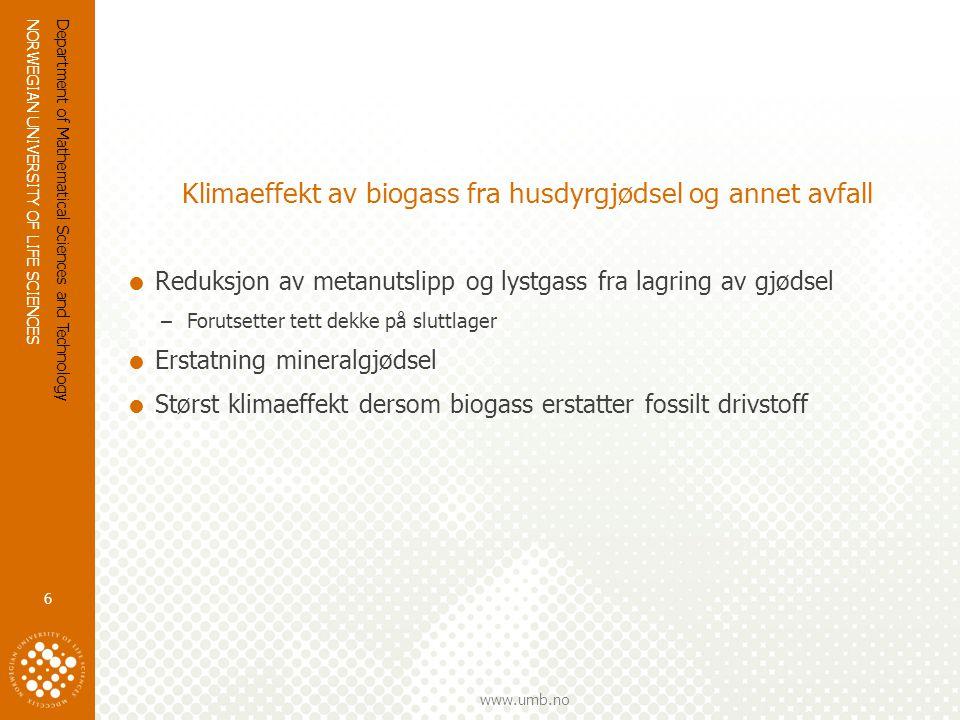 NORWEGIAN UNIVERSITY OF LIFE SCIENCES www.umb.no Klimaeffekt av biogass fra husdyrgjødsel og annet avfall  Reduksjon av metanutslipp og lystgass fra