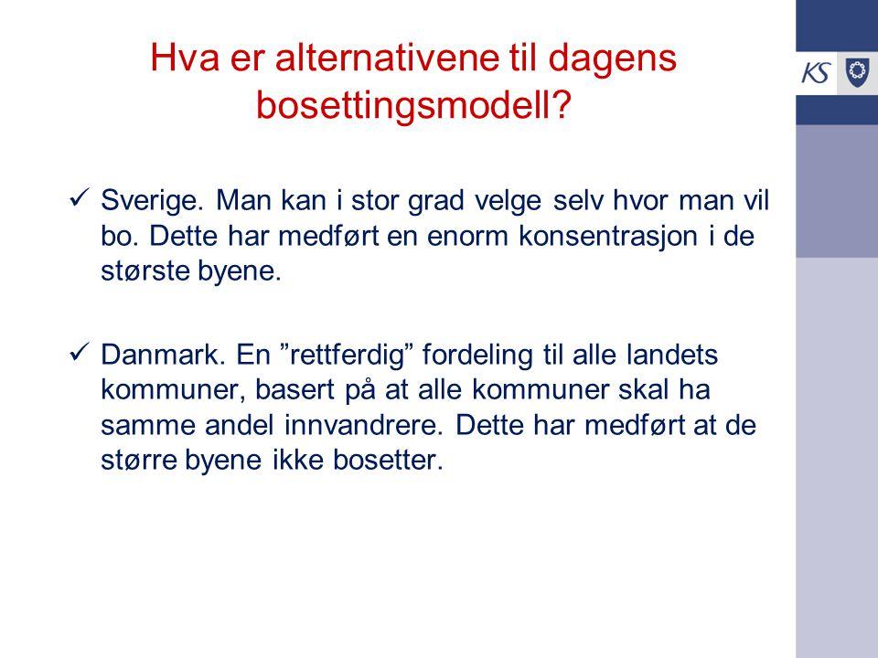 Hva er alternativene til dagens bosettingsmodell? Sverige. Man kan i stor grad velge selv hvor man vil bo. Dette har medført en enorm konsentrasjon i