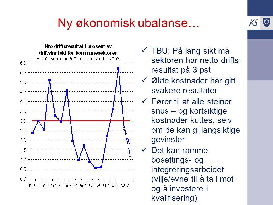 Ny økonomisk ubalanse… TBU: På lang sikt må sektoren har netto drifts- resultat på 3 pst Økte kostnader har gitt svakere resultater Fører til at alle steiner snus – og kortsiktige kostnader kuttes, selv om de kan gi langsiktige gevinster Det kan ramme bosettings- og integreringsarbeidet (vilje/evne til å ta i mot og å investere i kvalifisering)