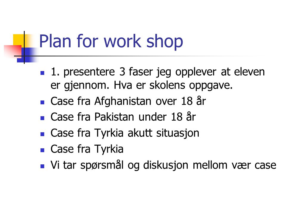 Plan for work shop 1.presentere 3 faser jeg opplever at eleven er gjennom.