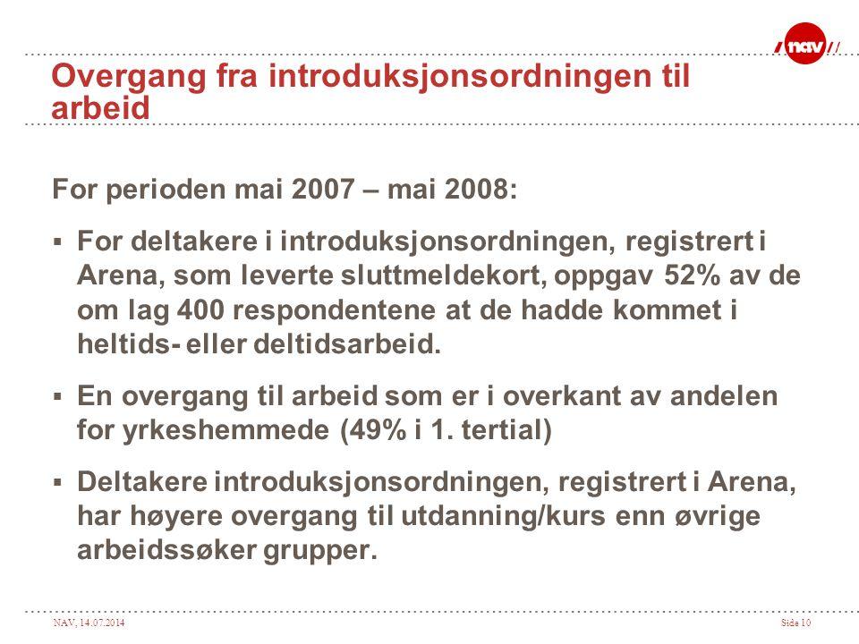 NAV, 14.07.2014Side 11 Status april 2008  Registrert 630 personer på introduksjonsordningen for nyankomne innvandrere i Arena.