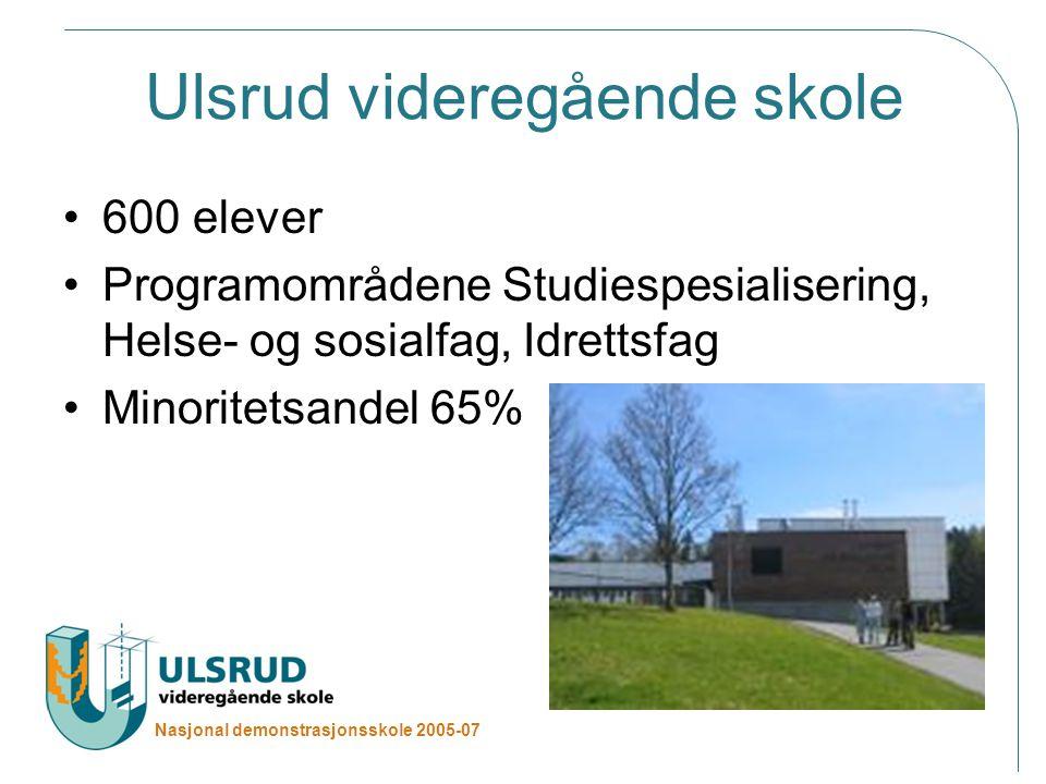 Nasjonal demonstrasjonsskole 2005-07 Ulsrud videregående skole 600 elever Programområdene Studiespesialisering, Helse- og sosialfag, Idrettsfag Minoritetsandel 65%