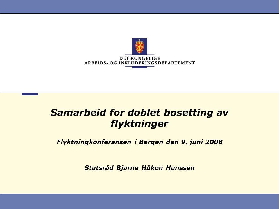 Samarbeid for doblet bosetting av flyktninger Flyktningkonferansen i Bergen den 9.