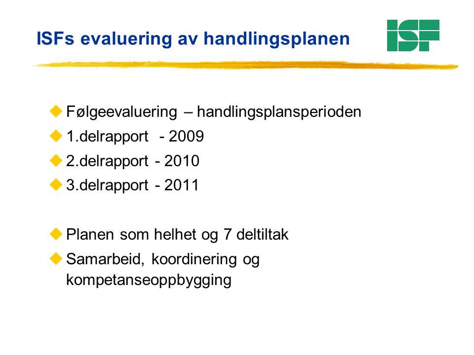 ISFs evaluering av handlingsplanen uFølgeevaluering – handlingsplansperioden u1.delrapport - 2009 u2.delrapport - 2010 u3.delrapport - 2011 uPlanen so