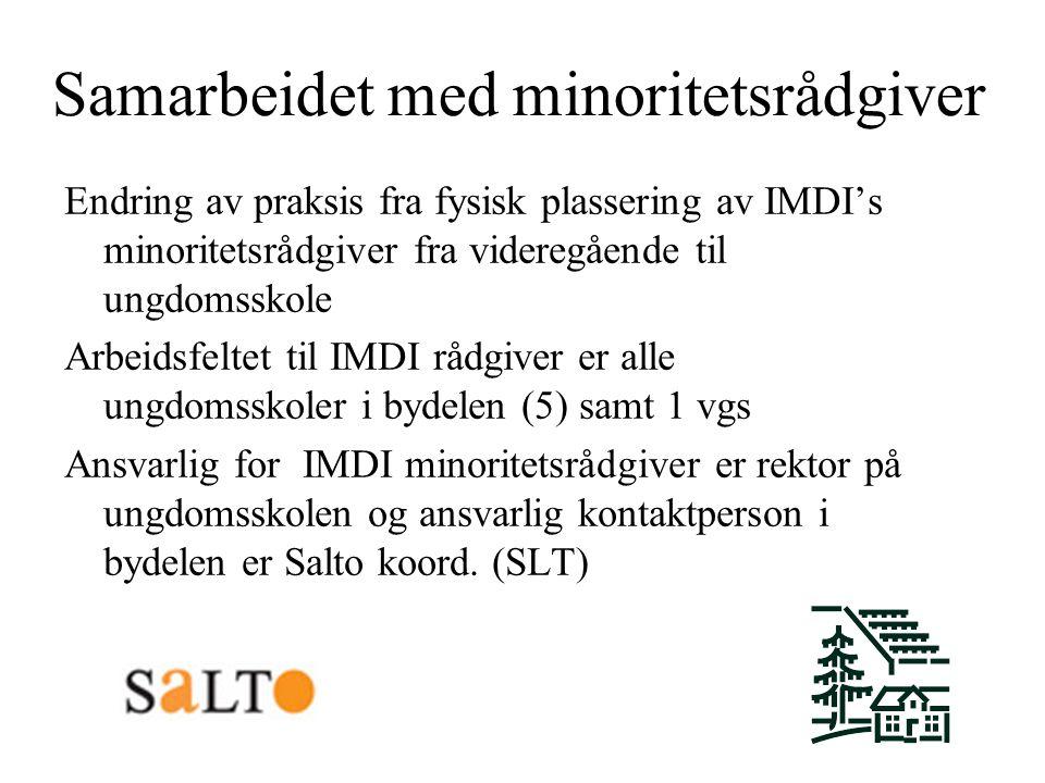 Samarbeidet med minoritetsrådgiver Endring av praksis fra fysisk plassering av IMDI's minoritetsrådgiver fra videregående til ungdomsskole Arbeidsfelt