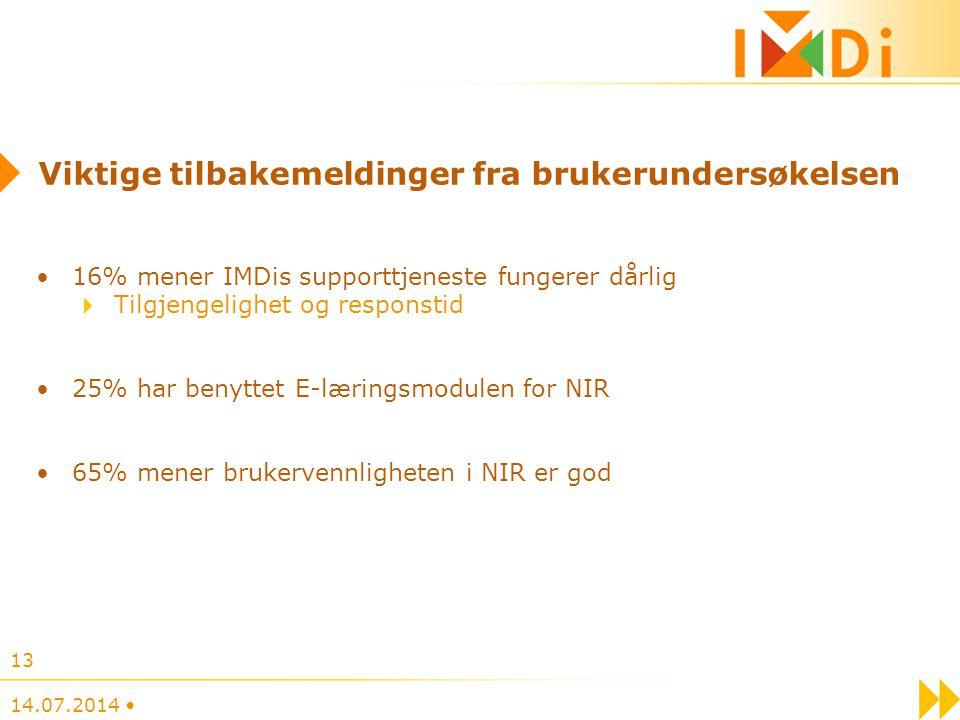 14.07.2014 13 Viktige tilbakemeldinger fra brukerundersøkelsen 16% mener IMDis supporttjeneste fungerer dårlig Tilgjengelighet og responstid 25% har b