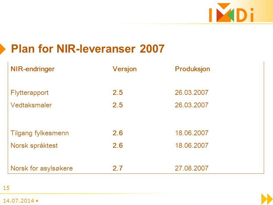 14.07.2014 15 Plan for NIR-leveranser 2007 NIR-endringerVersjonProduksjon Flytterapport2.526.03.2007 Vedtaksmaler2.526.03.2007 Tilgang fylkesmenn2.618