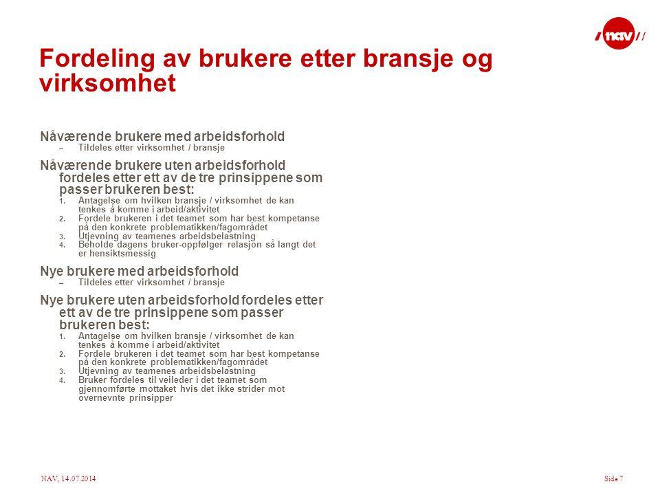 NAV, 14.07.2014Side 8 Fysisk plassering i kontoret Det foreslås at kontoret organiseres etter teamene, dvs.