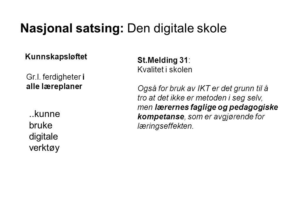 Nasjonal satsing: Den digitale skole Kunnskapsløftet..kunne bruke digitale verktøy Gr.l. ferdigheter i alle læreplaner St.Melding 31: Kvalitet i skole