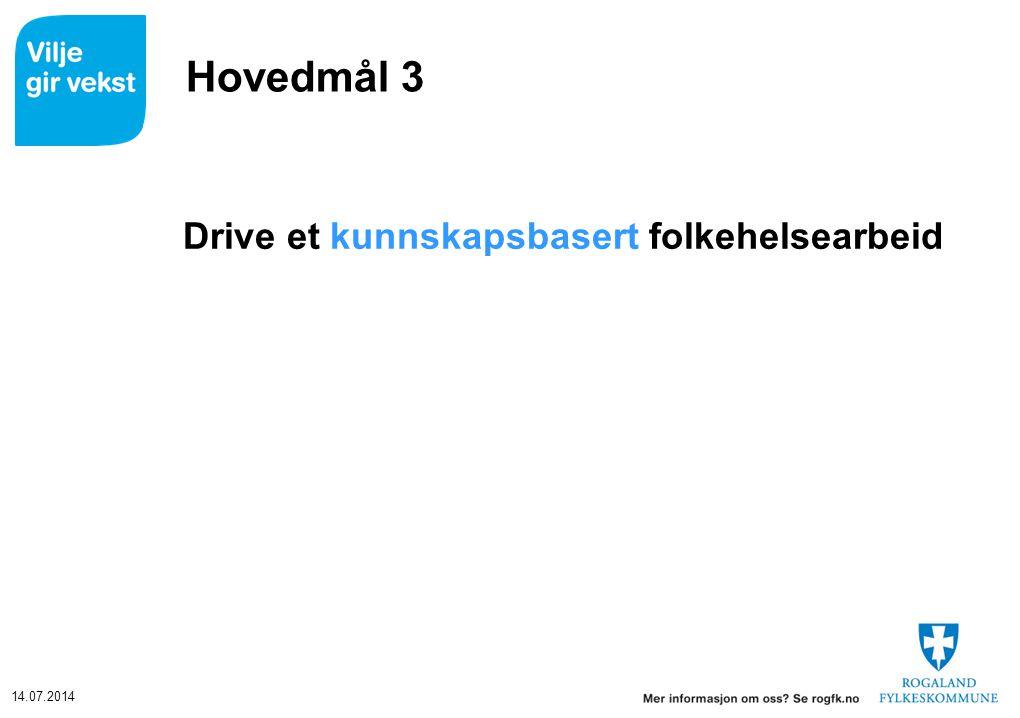14.07.2014 Hovedmål 3 Drive et kunnskapsbasert folkehelsearbeid