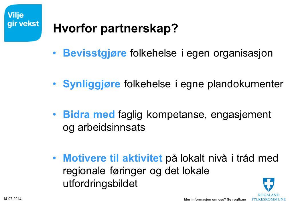 14.07.2014 Hvorfor partnerskap? Bevisstgjøre folkehelse i egen organisasjon Synliggjøre folkehelse i egne plandokumenter Bidra med faglig kompetanse,