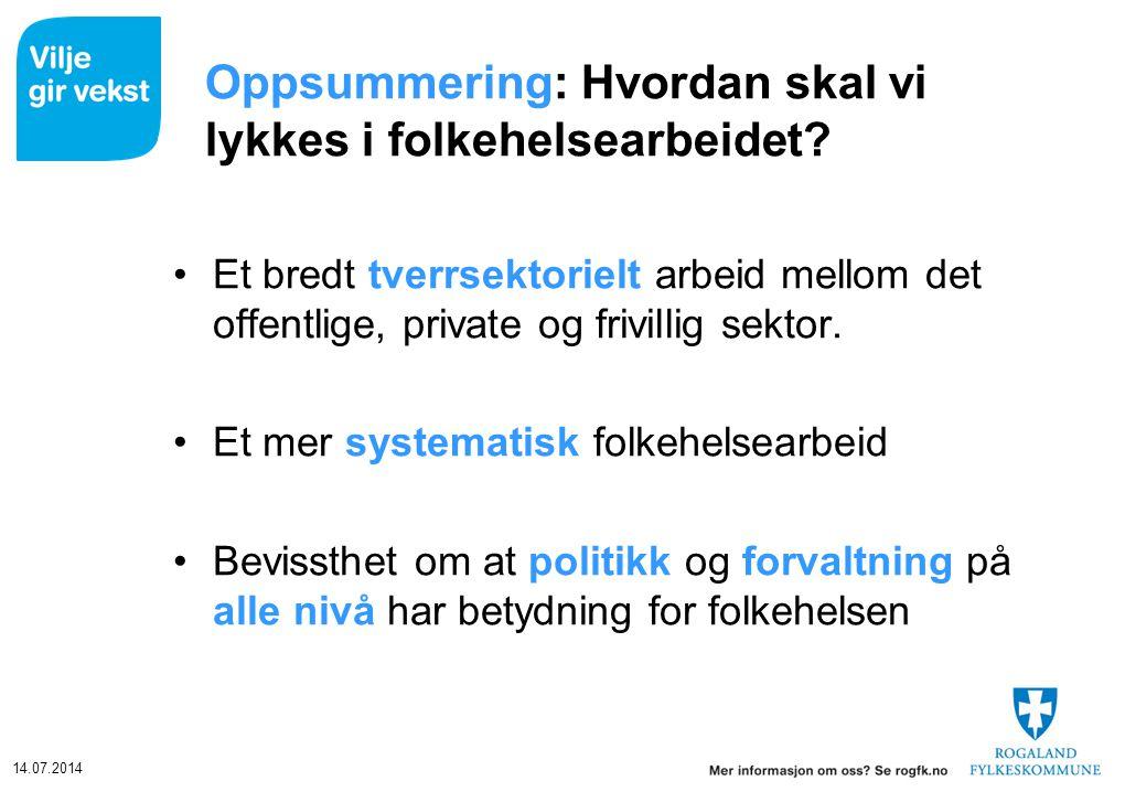 14.07.2014 Oppsummering: Hvordan skal vi lykkes i folkehelsearbeidet? Et bredt tverrsektorielt arbeid mellom det offentlige, private og frivillig sekt