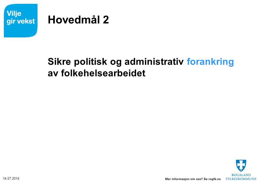 14.07.2014 Hovedmål 2 Sikre politisk og administrativ forankring av folkehelsearbeidet