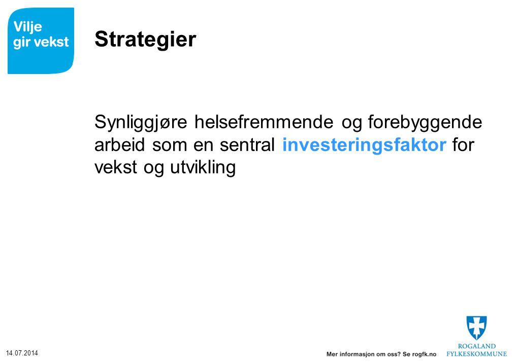 14.07.2014 Strategier Synliggjøre helsefremmende og forebyggende arbeid som en sentral investeringsfaktor for vekst og utvikling