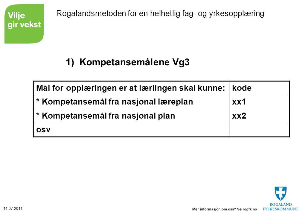 14.07.2014 Rogalandsmetoden for en helhetlig fag- og yrkesopplæring 1)Kompetansemålene Vg3 Mål for opplæringen er at lærlingen skal kunne:kode * Kompe