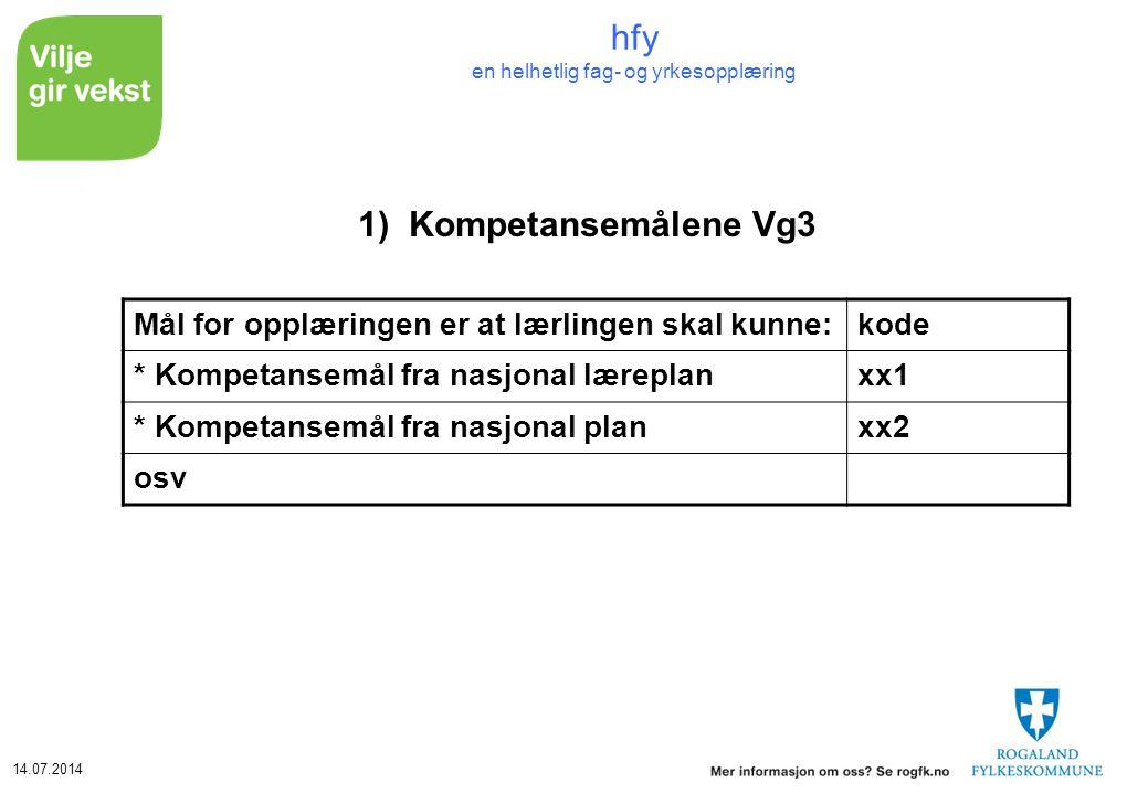 14.07.2014 hfy en helhetlig fag- og yrkesopplæring 1)Kompetansemålene Vg3 Mål for opplæringen er at lærlingen skal kunne:kode * Kompetansemål fra nasj