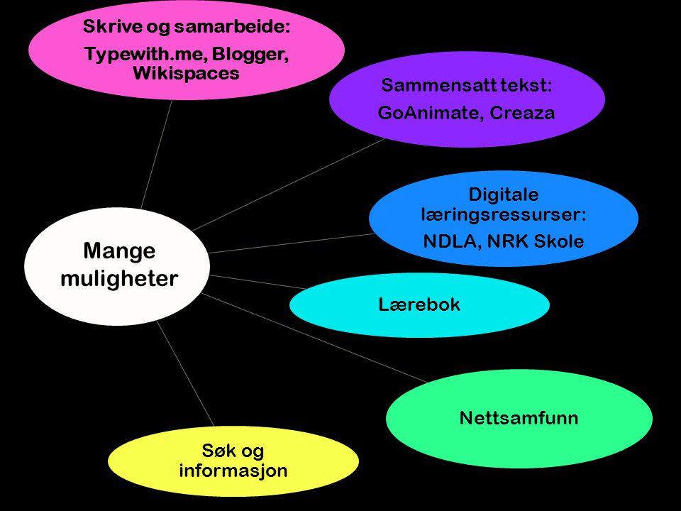 Skrive og samarbeide: Typewith.me, Blogger, Wikispaces Sammensatt tekst: GoAnimate, Creaza Digitale læringsressurser: NDLA, NRK Skole Lærebok Nettsamfunn Søk og informasjon Mange muligheter