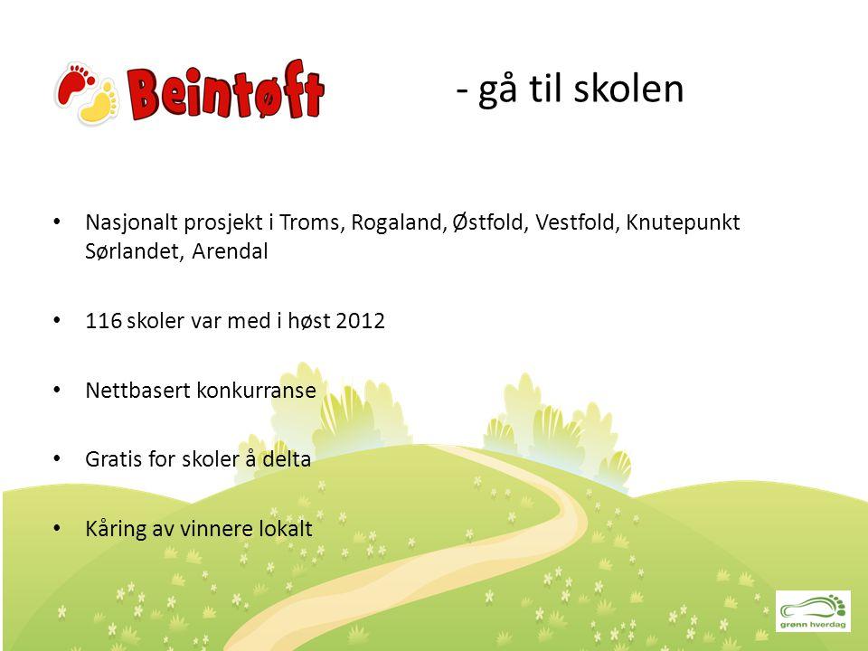 - gå til skolen Nasjonalt prosjekt i Troms, Rogaland, Østfold, Vestfold, Knutepunkt Sørlandet, Arendal 116 skoler var med i høst 2012 Nettbasert konku