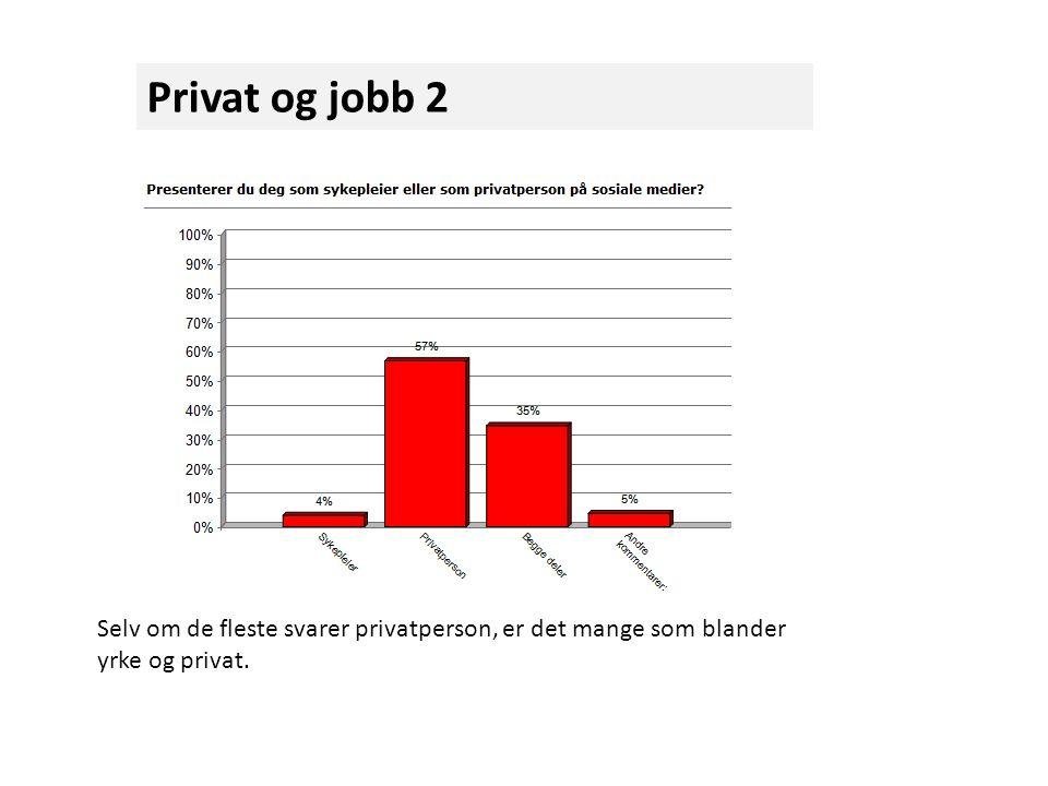 Privat og jobb 2 Selv om de fleste svarer privatperson, er det mange som blander yrke og privat.