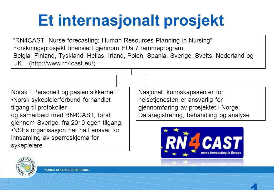 18 Et internasjonalt prosjekt RN4CAST -Nurse forecasting: Human Resources Planning in Nursing Forskningsprosjekt finansiert gjennom EUs 7.rammeprogram Belgia, Finland, Tyskland, Hellas, Irland, Polen, Spania, Sverige, Sveits, Nederland og UK.