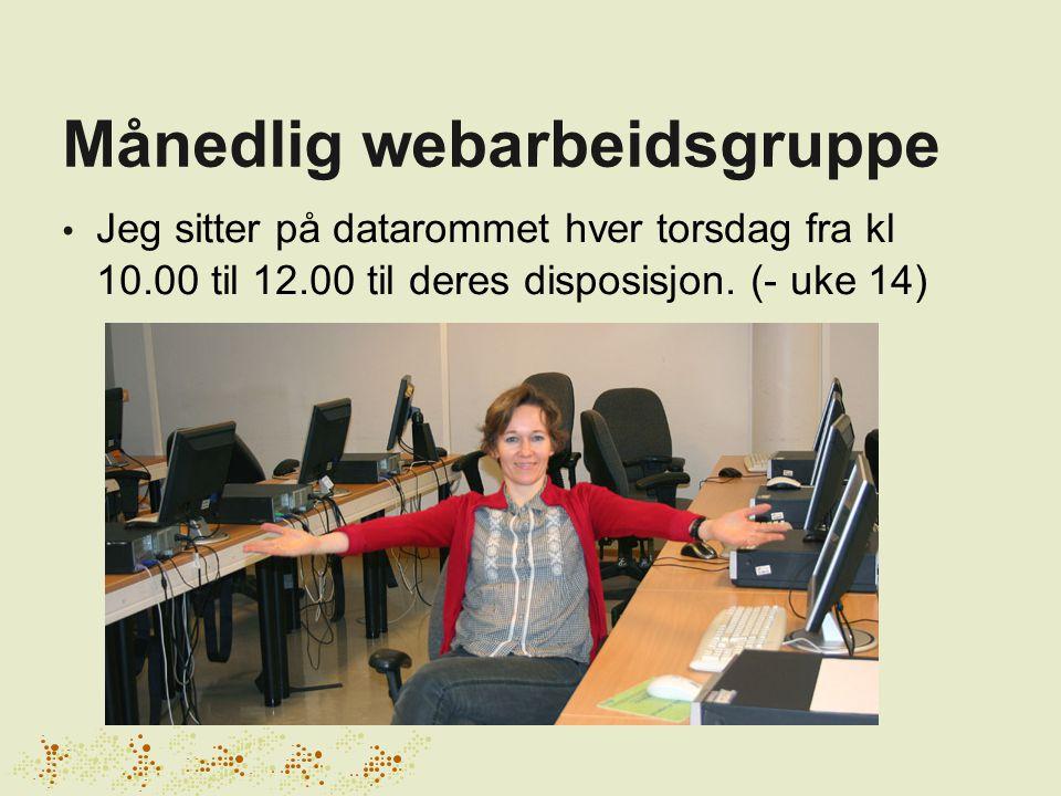 Månedlig webarbeidsgruppe Jeg sitter på datarommet hver torsdag fra kl 10.00 til 12.00 til deres disposisjon.