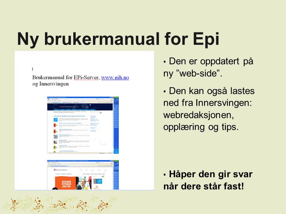 Ny brukermanual for Epi Den er oppdatert på ny web-side .