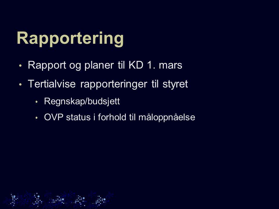Rapportering Rapport og planer til KD 1.