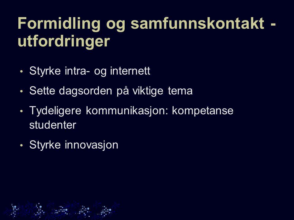 Formidling og samfunnskontakt - utfordringer Styrke intra- og internett Sette dagsorden på viktige tema Tydeligere kommunikasjon: kompetanse studenter Styrke innovasjon