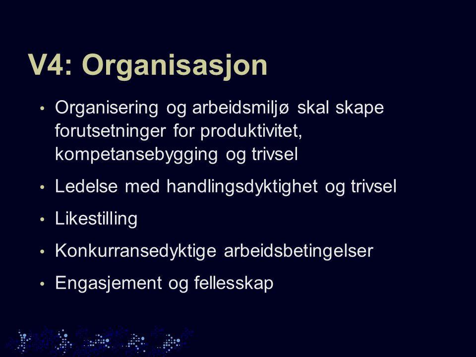 V4: Organisasjon Organisering og arbeidsmiljø skal skape forutsetninger for produktivitet, kompetansebygging og trivsel Ledelse med handlingsdyktighet og trivsel Likestilling Konkurransedyktige arbeidsbetingelser Engasjement og fellesskap