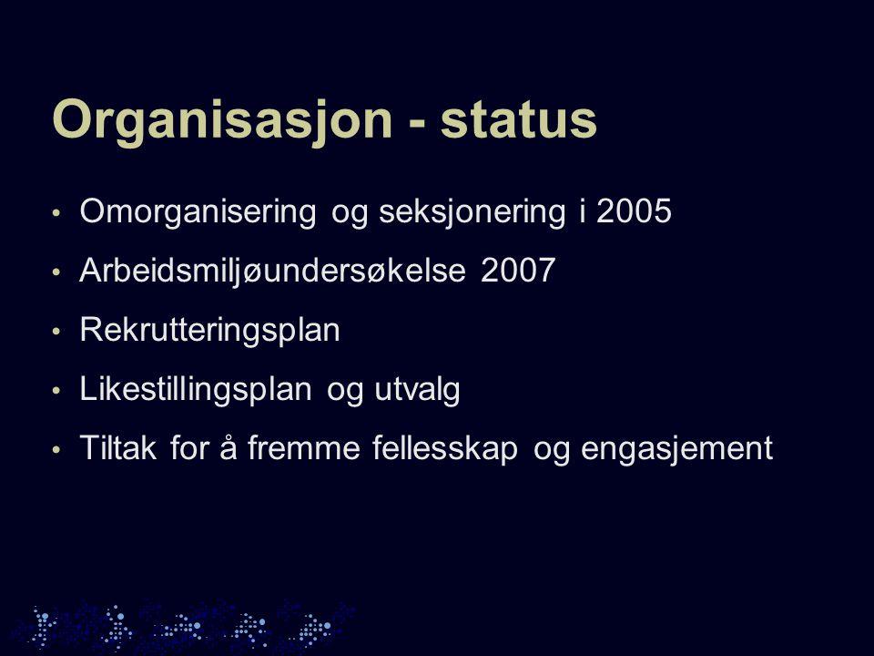 Organisasjon - status Omorganisering og seksjonering i 2005 Arbeidsmiljøundersøkelse 2007 Rekrutteringsplan Likestillingsplan og utvalg Tiltak for å fremme fellesskap og engasjement