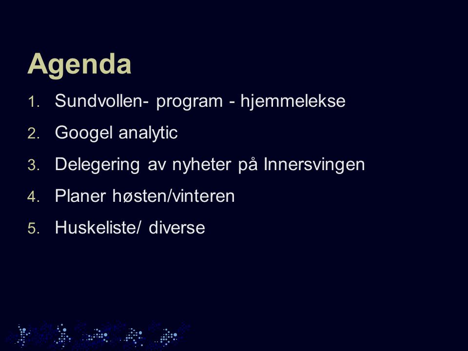 Agenda 1. Sundvollen- program - hjemmelekse 2. Googel analytic 3.