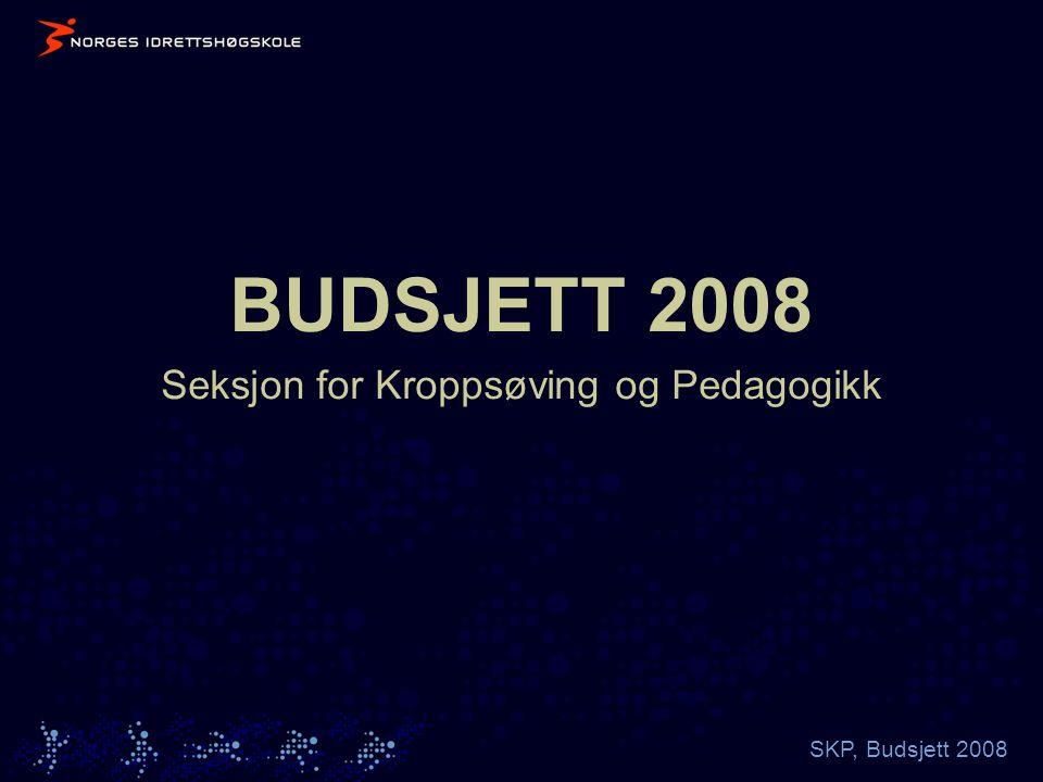 SKP, Budsjett 2008 BUDSJETT 2008 Seksjon for Kroppsøving og Pedagogikk