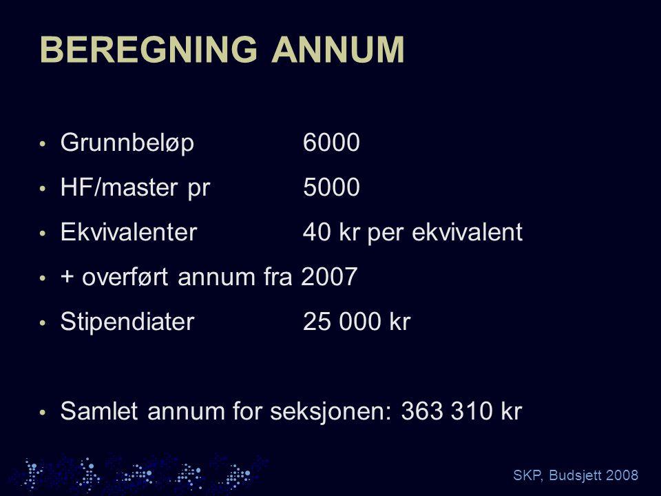 SKP, Budsjett 2008 BEREGNING ANNUM Grunnbeløp6000 HF/master pr5000 Ekvivalenter40 kr per ekvivalent + overført annum fra 2007 Stipendiater25 000 kr Samlet annum for seksjonen: 363 310 kr