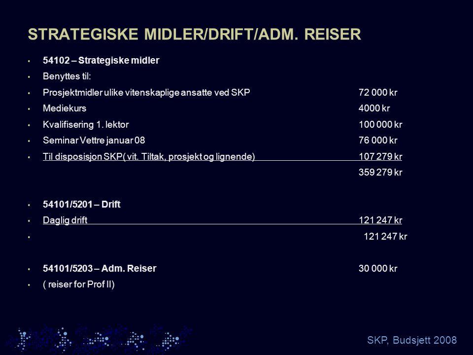 SKP, Budsjett 2008 STRATEGISKE MIDLER/DRIFT/ADM.