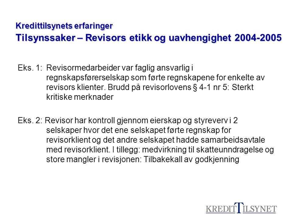 Kredittilsynets erfaringer Tilsynssaker – Revisors etikk og uavhengighet 2004-2005 Eks. 1:Revisormedarbeider var faglig ansvarlig i regnskapsførersels