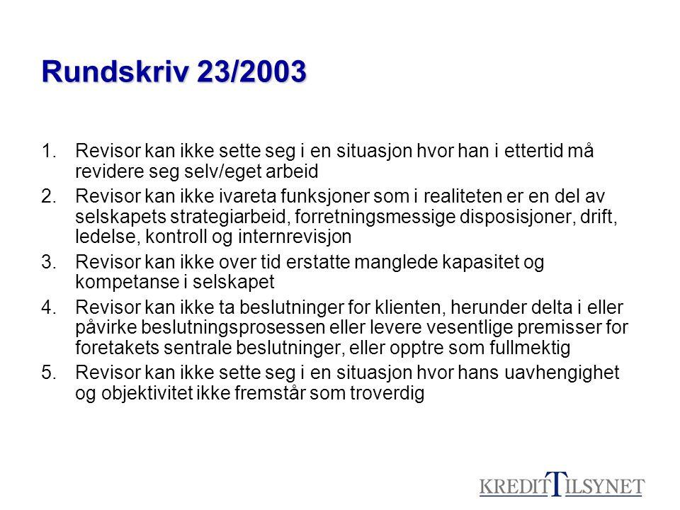 Rundskriv 23/2003 1.Revisor kan ikke sette seg i en situasjon hvor han i ettertid må revidere seg selv/eget arbeid 2.Revisor kan ikke ivareta funksjon