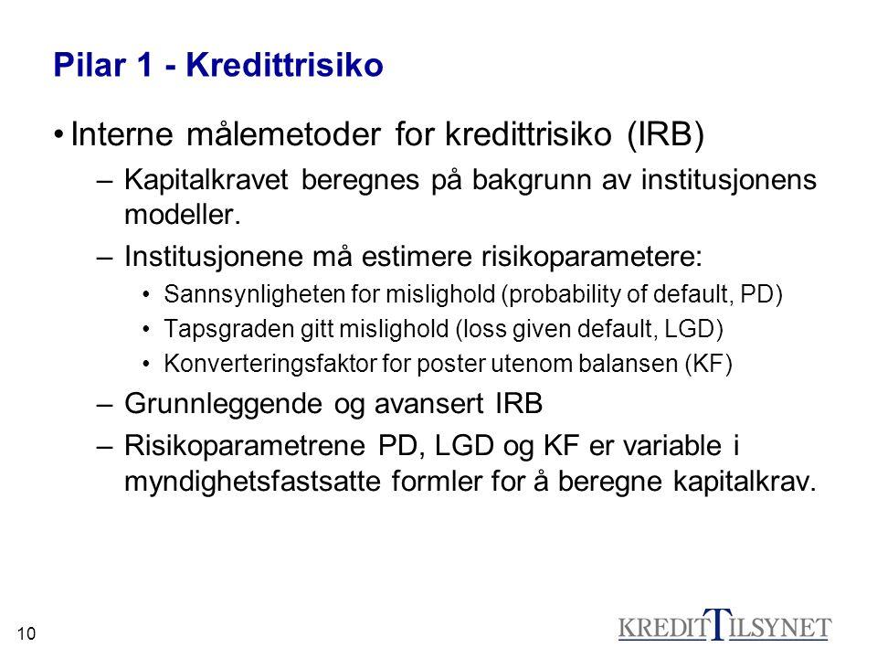 10 Pilar 1 - Kredittrisiko Interne målemetoder for kredittrisiko (IRB) –Kapitalkravet beregnes på bakgrunn av institusjonens modeller. –Institusjonene