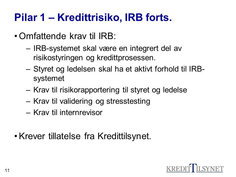 11 Pilar 1 – Kredittrisiko, IRB forts. Omfattende krav til IRB: –IRB-systemet skal være en integrert del av risikostyringen og kredittprosessen. –Styr