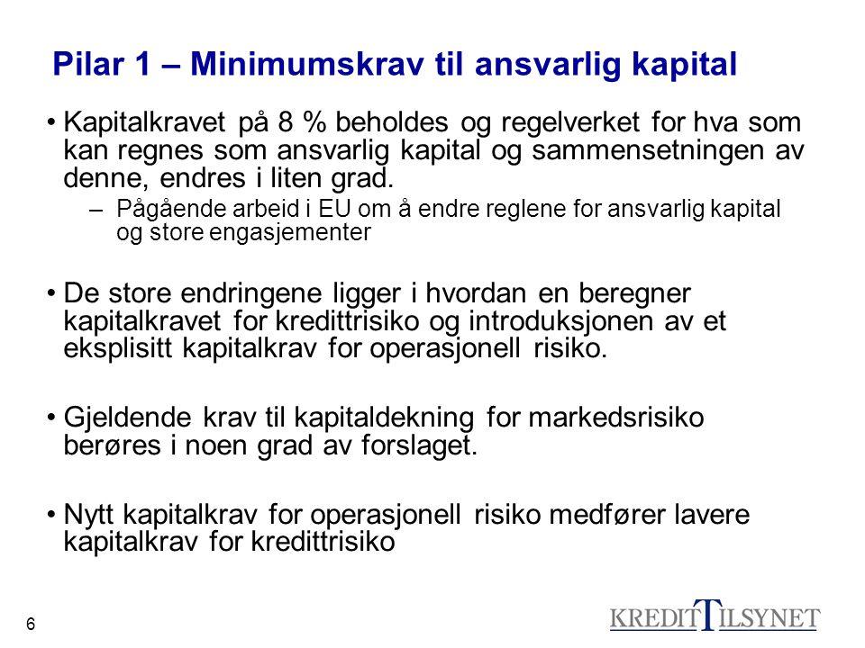 7 Pilar 1 – Minimumskrav til ansvarlig kapital Proporsjonalitetsprinsipp –Enklere metoder for mindre institusjoner –Avanserte metoder for større institusjoner Insentivstruktur –Insentiv til bedre risikostyring gjennom noe lavere kapitalkrav (i avanserte metoder).