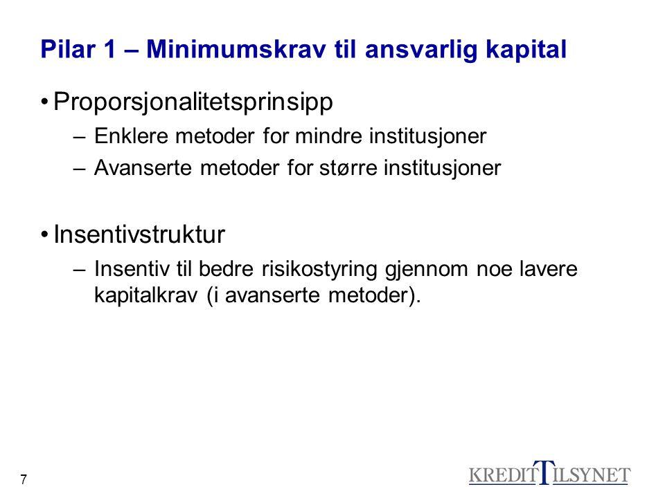 7 Pilar 1 – Minimumskrav til ansvarlig kapital Proporsjonalitetsprinsipp –Enklere metoder for mindre institusjoner –Avanserte metoder for større insti